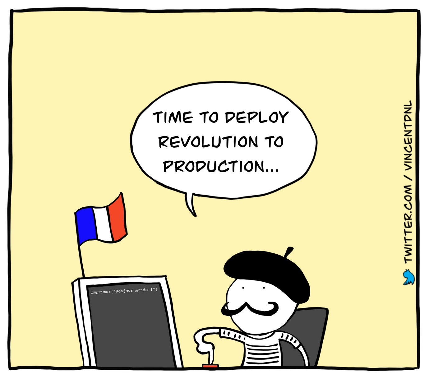 drawing - text: Time to deploy revolution to production...