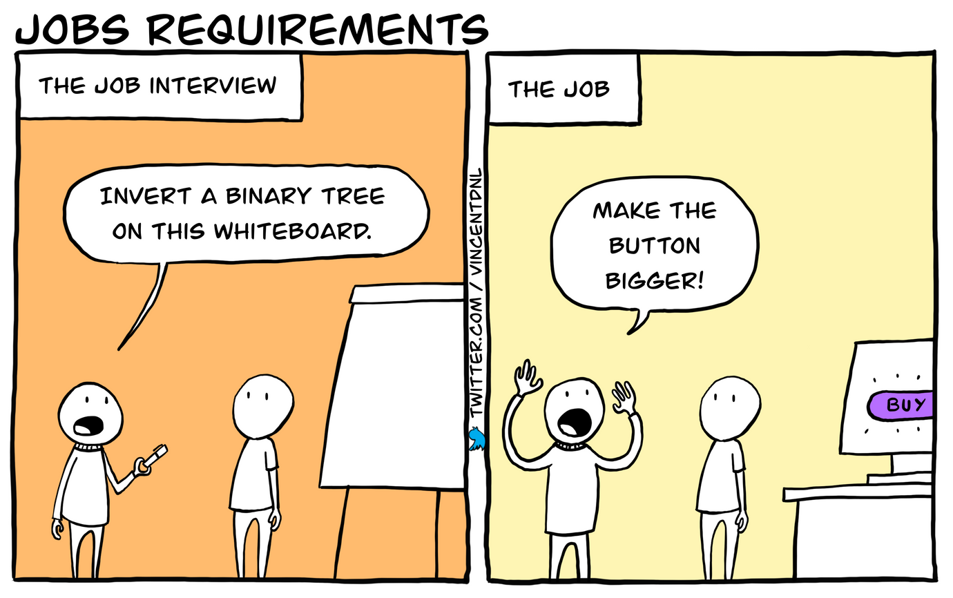 drawing - title: Jobs requirements - text: Jobs interviews - Invert a binary tree on this whiteboard. | The job - Make the button bigger!