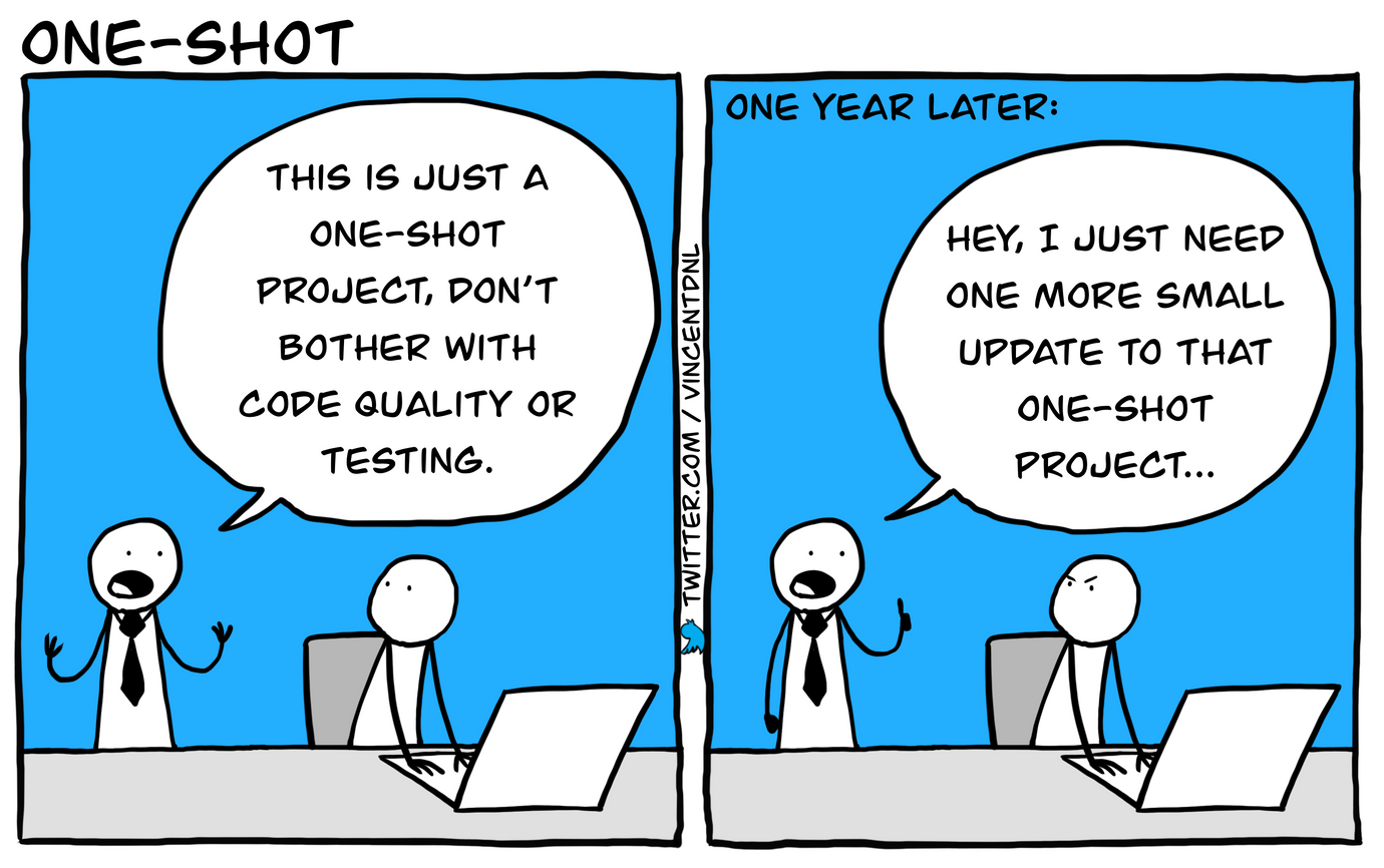 drawing - title: one-shot - text: box1: project manager (to a developer): This is just a one-shot project, don't bother with code quality or testing | box2: 'One year later' project manager (to a developer, visibly pissed off): Hey, I just need one more small update to that one-shot project...