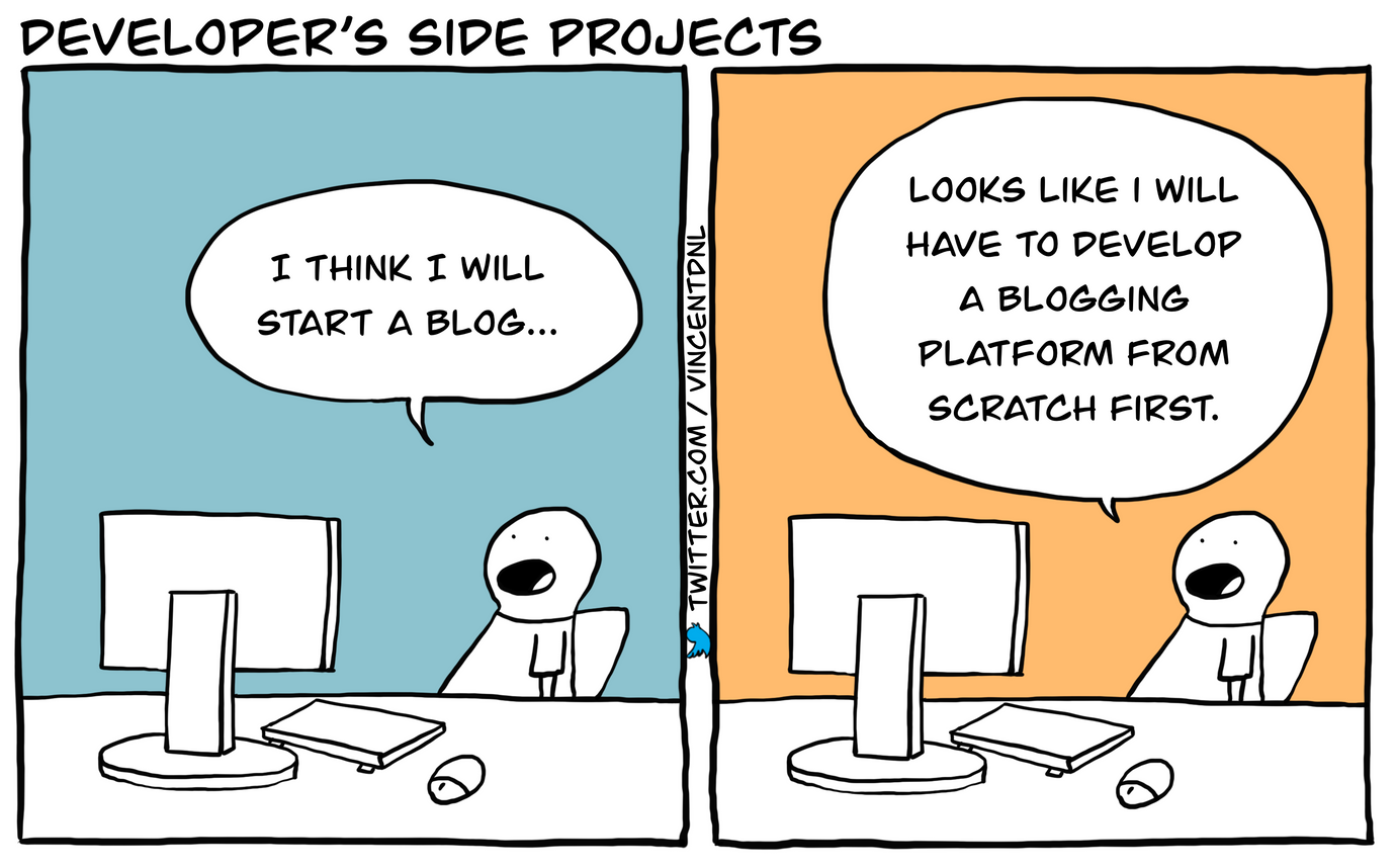 drawing - text: Developer's Side Projects - I think I will start a blog... - Looks like I will have to develop a blogging platform from scratch first.