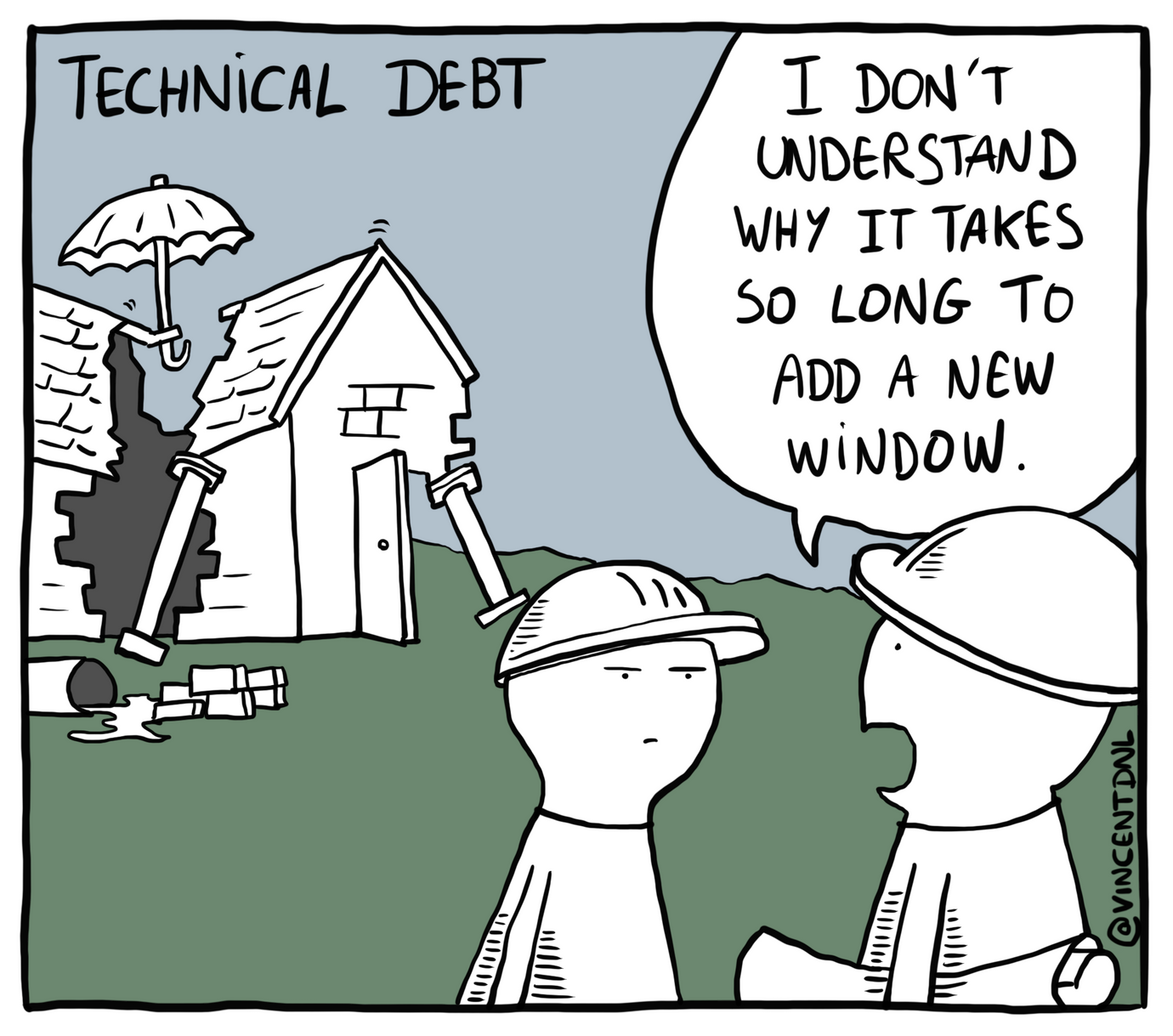 drawing - text: Technical Debt - I don't understand why it takes so long to add a new window.