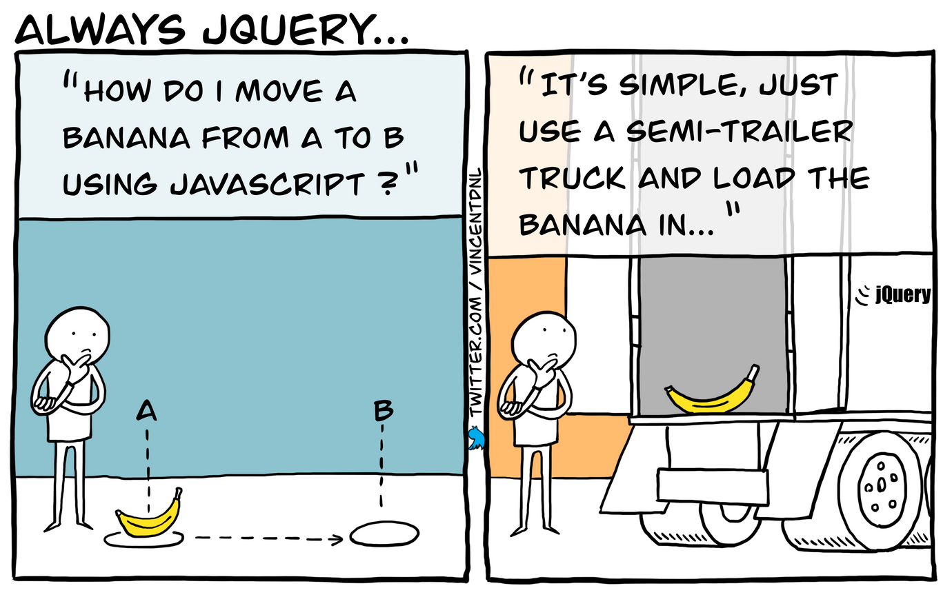 drawing - text: How do I move a banana from A to B using Javascript? - It's simple, just use a semi-trailer truck and load the banana in...