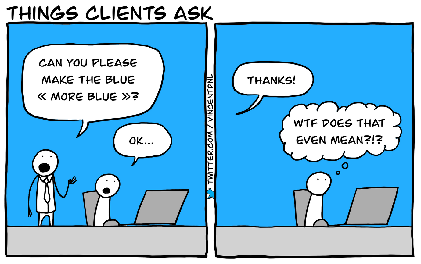 drawing - text: box1: manager asks: Can you please make the blue more blue? developer: ok | box: developer (thinking): Wtf does that even mean?!?