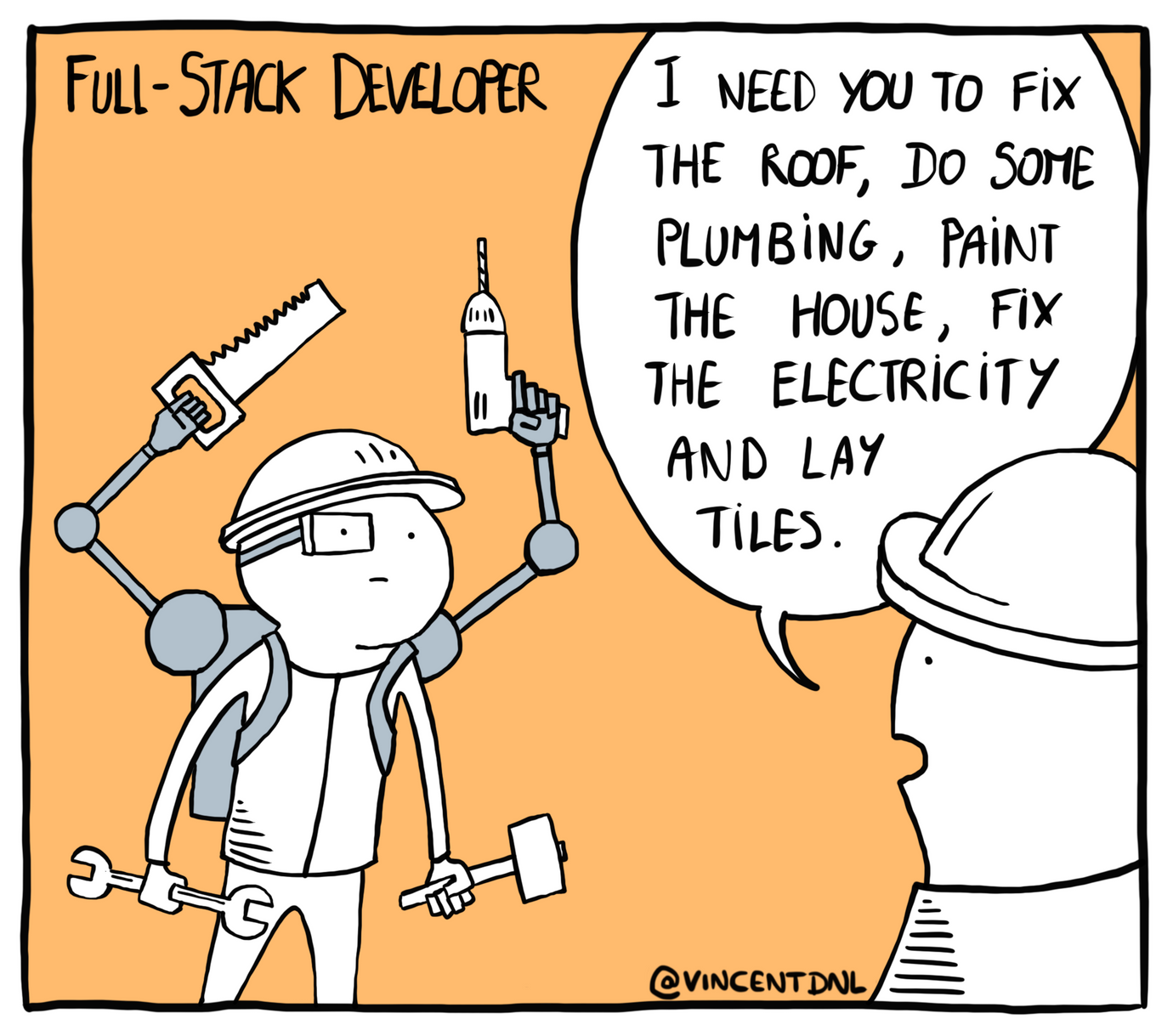 drawing - text: Full-Stack Developer - I need you to fix the roof, do some plumbing, paint the house, fix the electricity and lay tiles.